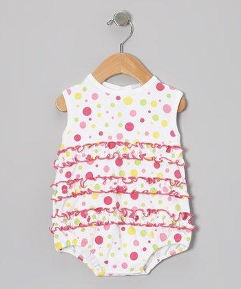 White Happy Dots Bubble Bodysuit - Infant