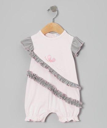 Pink & Gray Butterfly Ruffle Romper - Infant