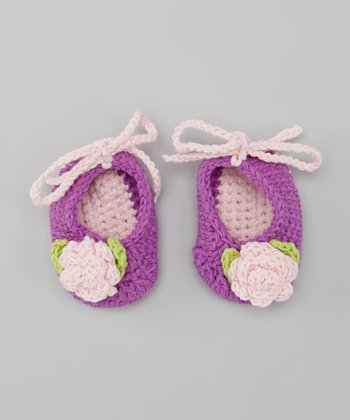 Purple & Pink Crocheted Rose Bootie