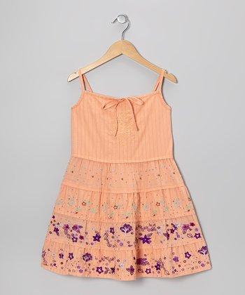 Goldfish Orange Embroidered Dress