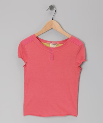 Punch Puff-Sleeve Henley - Girls
