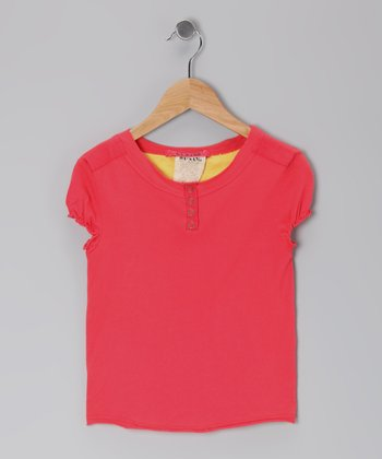 Strawberry Puff-Sleeve Henley - Girls