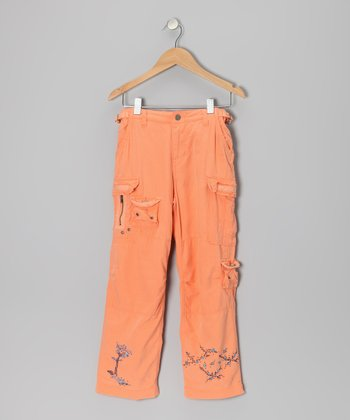 Orange Silk-Blend Cargo Pants - Girls