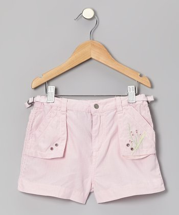 Crocus Pink Embroidered Silk-Blend Shorts - Girls