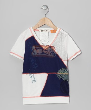 White & Navy Embroidered V-Neck Tee