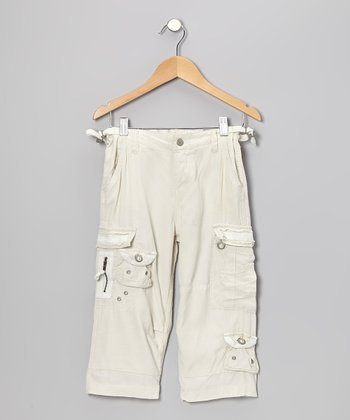 Aspen White Silk Crop Pants - Girls