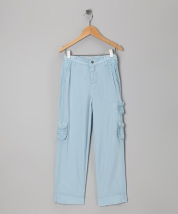 Tahoe Blue Silk-Blend Cargo Pants - Girls