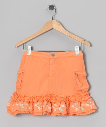 Goldfish Orange Flower Silk Trumpet Skirt