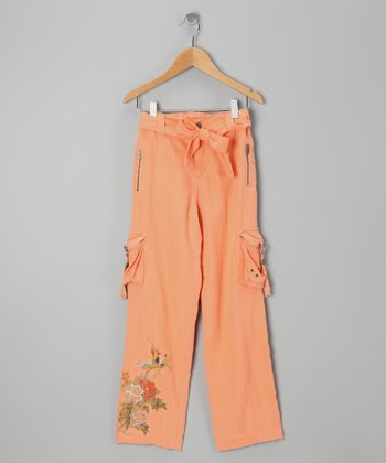 Goldfish Orange Embroidered Silk Cargo Pants