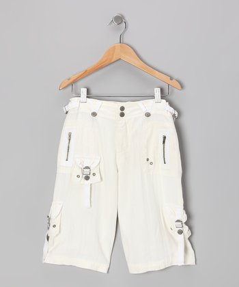 White Silk Cargo Bermuda Shorts - Girls