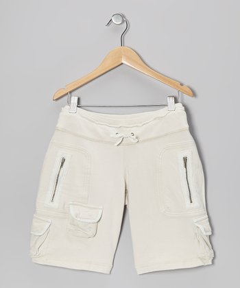 Aspen White Embroidered Bermuda Shorts