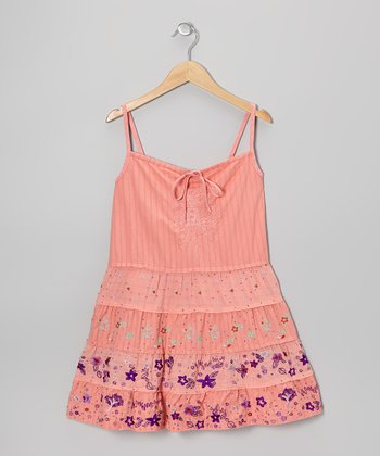 Crayon Pink Embroidered Dress