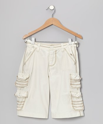 Aspen White Bermuda Crop Pants - Girls