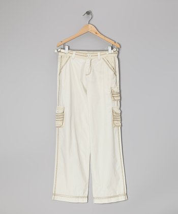 Aspen White Cargo Pants - Girls