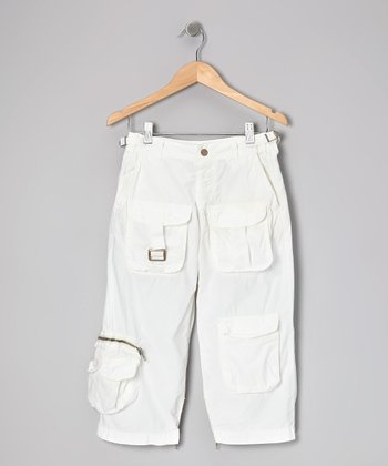 White Cargo Crop Pants
