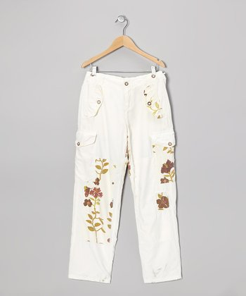 Optic White Embroidered Flower Pants - Girls