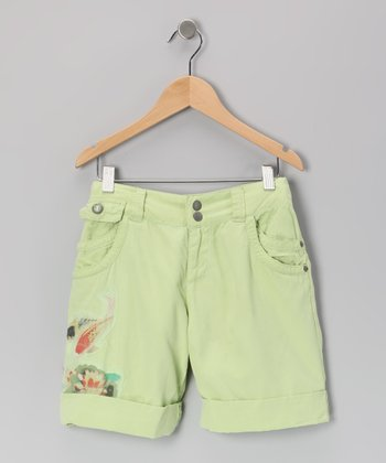 Apple Green Koi Silk Shorts