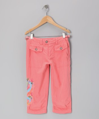 Crayon Pink Embroidered Silk Capri Pants