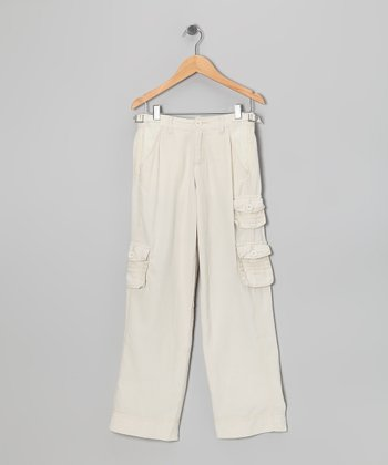Aspen White Silk Cargo Pants - Girls
