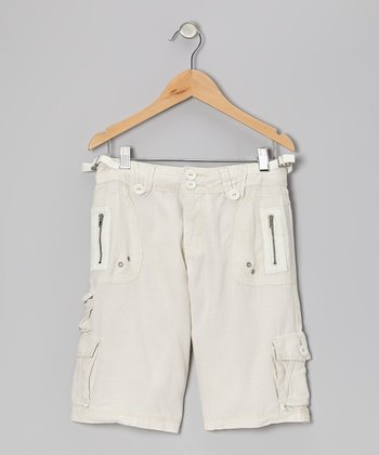 Aspen White Silk Bermuda Shorts
