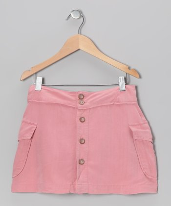 Coral Button-Up Silk Skirt - Girls