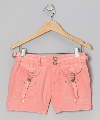 Crayon Pink Silk-Blend Shorts - Girls