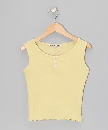 Yellow Flower Cap-Sleeve Tank - Girls