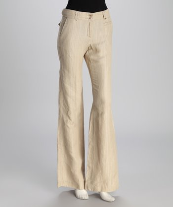 Beige Linen-Silk Blend Wide-Leg Pants