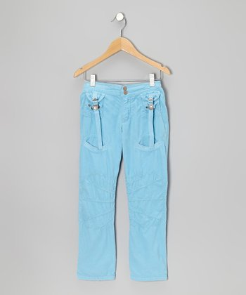 Sky Button Tab Pants - Girls
