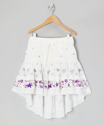 White Silk Hi-Low Skirt