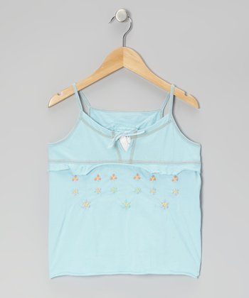 Swim Aqua Embroidered Camisole - Girls