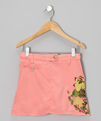 Coral Floral Embroidered Silk Skirt