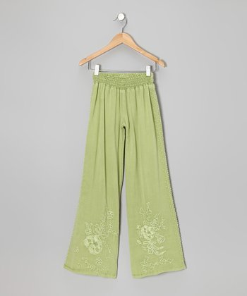 Kiwi Green Floral Embroiderd Pants - Girls