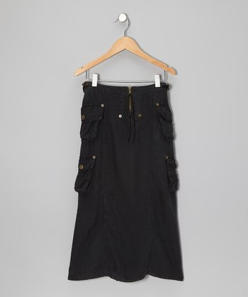 Black Silk Cargo Maxi Skirt - Girls