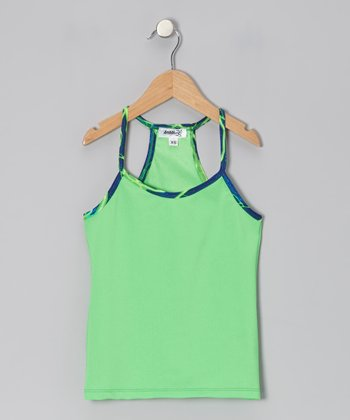 Green Racerback Tank - Girls