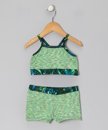 Green Fairy Foil-Trim Sports Bra & Shorts - Girls
