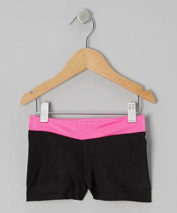 Black & Hot Pink Shorts - Girls