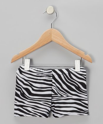 Black Zebra Shorts - Girls