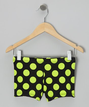 Black & Neon Green Polka Dot Shorts - Toddler & Girls