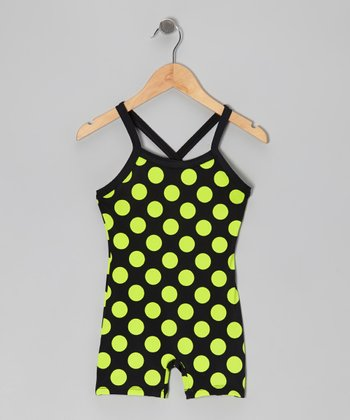Black & Neon Green Polka Dot Biketard - Toddler & Girls