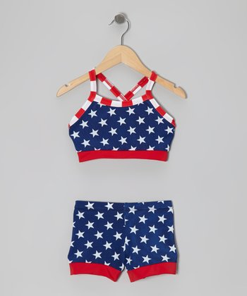 Blue & Red Stars Crop Top & Shorts - Girls
