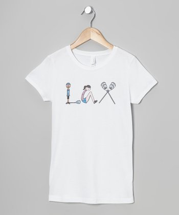 White 'LAX' Tee - Girls