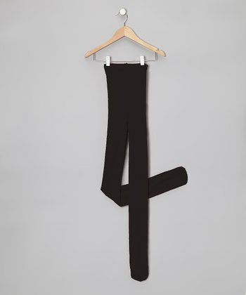 Black Supersoft Footed Tights - Women