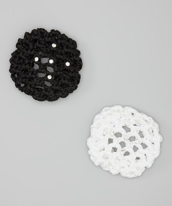 Black & White Rhinestone Small Bun Holder Set