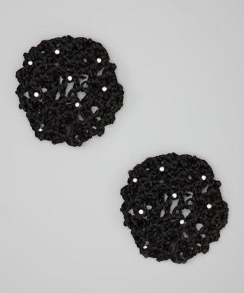 Black Rhinestone Large Bun Holder Set