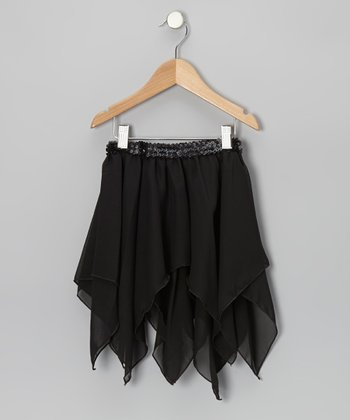 Black Sequin Waist Handkerchief Skirt