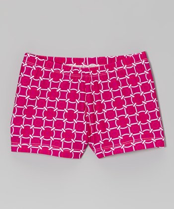 Clingons Activewear Fuchsia Tile Shorts - Toddler & Girls