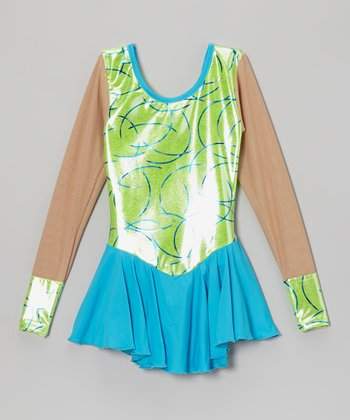 Lime Swirl Skating Dress - Girls