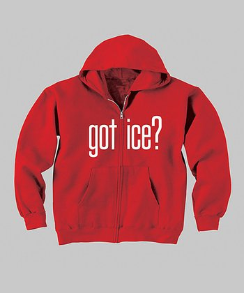 Red 'Got Ice?' Zip-Up Hoodie - Infant, Toddler & Kids