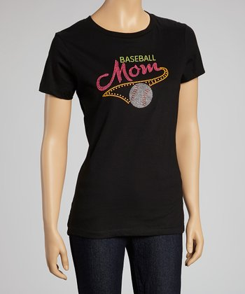 Black Neon Stud 'Baseball Mom' Tee  - Women